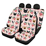 AFPANQZ French Bulldog Lovers Car Seat Covers Full Set 4 Pack Front and Back Seat Cover Set Stylish Reat Seats Cushion for Women Machine Washable Universal Fit for Car Truck Van and SUVs Pink