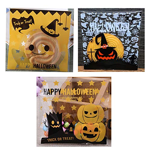 Guwheat 300 Pcs Halloween Self Adhesive Candy Bags Clear Cookie Bags Cellophane Treat Bags for Halloween Party Gift Supplies, 3 Styles