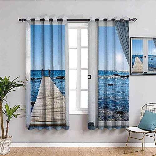 LucaSng Blickdicht Vorhang Wärmeisolierender - Blau Himmel Meer Holzbrücke - 264x210 cm Junge mit Mädchen Schlafzimmer Wohnzimmer Kinderzimmer - 3D Digitaldruck mit Ösen Thermo Vorhang
