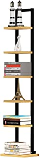 WWWANG Estantería de madera + acero, simple, moderno, de pie, salón, dormitorio, esquina, decoración, 30 x 28 x 142 cm, negro, blanco (color: blanco)