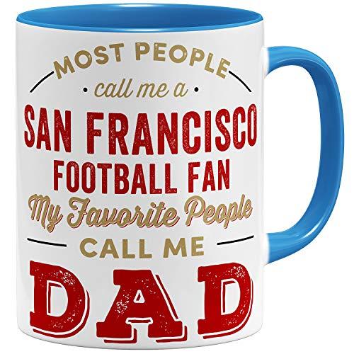 OM3® San-Francisco-Fan Tasse | Keramik Becher | American Football Mug | 11oz 325ml | Beidseitig Bedruckt | Hellblau