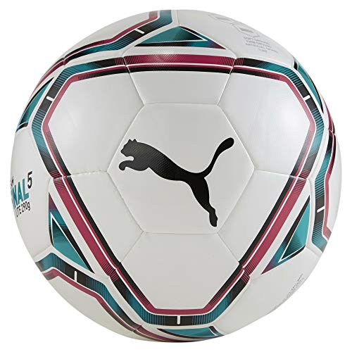 PUMA teamFINAL 21 Lite Ball 290g Balón de Fútbol, Unisex-Adult, White-Rose Red-Ocean Depths Black, 5