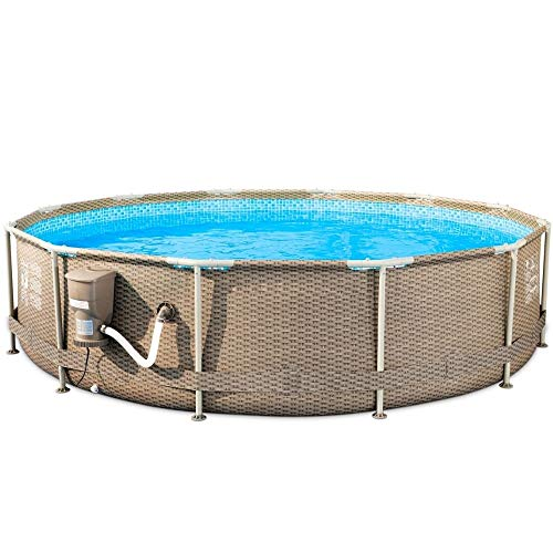Above Ground Pool with Pump 12 Foot Round Swimming Pool Durable Filter Pump Galvanized Metal Frame Best Above Ground Pool Summer for Kids and Adults Swim Center Easy Setup Tan & eBook by NAKSHOP
