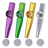 4Pcs Kazoo Mirlitón de Metal 4 Colores