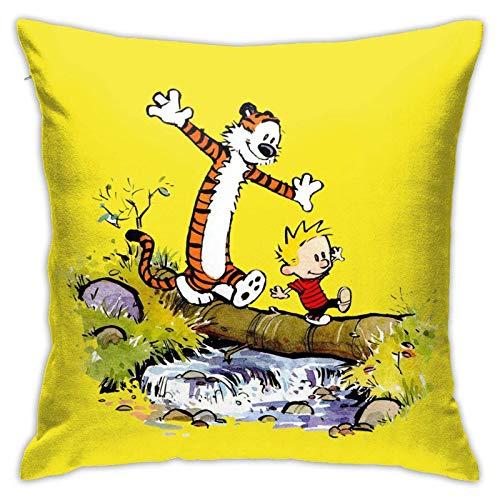 XCNGG Ca-lv-in y Ho-b-b-es Funda de almohada cuadrada suave y cómoda Funda de almohada linda con estampado de doble cara Funda de cojín de felpa decorativa Funda de cojín en 18 'X 18' (No incluye núcl