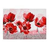 Poppy's Flower Red British Kitchen Worktop Protector Saver Glass Chopping Board