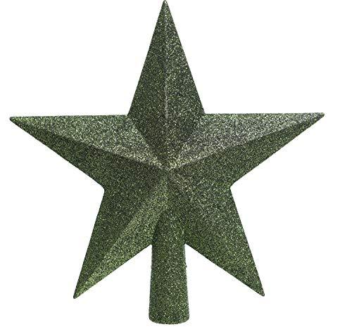 KAE Christbaumspitze Stern Kunststoff Glitzer 19cm Weihnachtsspitze Tannenbaumspitze piniengrün