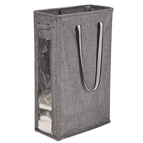 """Handy Hanging Laundry Basket Caroeas 24"""" Clear Window Laundry Hamper Visible Laundry Basket Waterproof with Breathable Mesh Cover amp Silver Handle(Burlap amp Transparent Window)"""