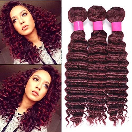 FEEL ME 3 Bundles Brazilian Deep Wave Hair Weaves 99j Red Wine Color Deep Curly Unprocessed Virgin Human Hair Extensions Burgundy Deep Wave Brazilian Hair 18 20 22 Inch