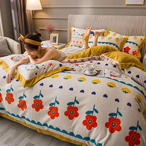 juego de funda nórdica 260x258-Invierno de doble cara gruesa de cuatro piezas cálida niña estilo princesa funda nórdica de franela cama individual funda de almohada individual regalo-L._Cama de 1,8 m