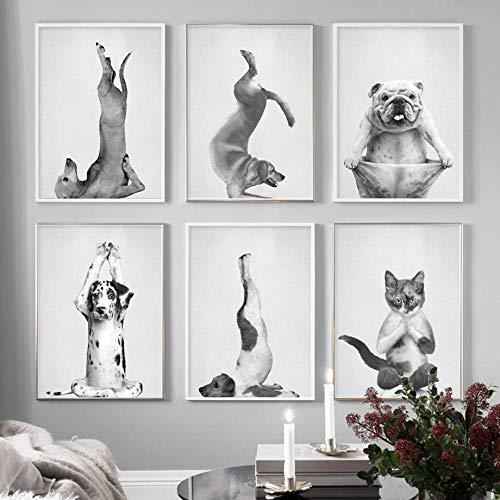 Baile Yoga Poster Gracioso Animal Pared Arte Gato Sonrisa Perro Posición Vertical Lienzo Pintura Negro Blanco Impresiones Salon Habitación Decoracion Cuadros 30x40cmx6 Sin Marco