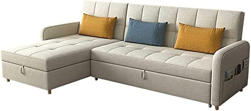 Convertible Sectional Sofa Sleeper Sofa with Pull-Out Bed L Shape Sofa Couch with Reversible Storage Chaise Modern Fabric ...
