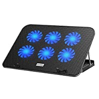►【Super Cooling Fans】ICE COOREL laptop Cooling Pad with the mesh design and the 6 fans (60mm) spinning at adjustable speed from 2000-2400 RPM, greatly dissipate the heat from the laptop, enable it in good working condition, and prolong the lifespan o...