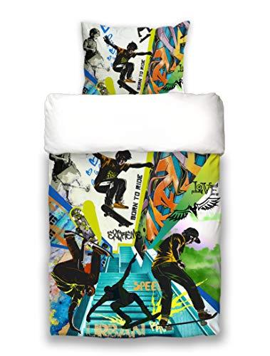 beties Graffiti Skateboard Wende-Bettwäsche-Set 2 teilig ca. ca.135x200 cm + 80x80 cm Skateboarding Cool feinste Baumwolle Multicolor