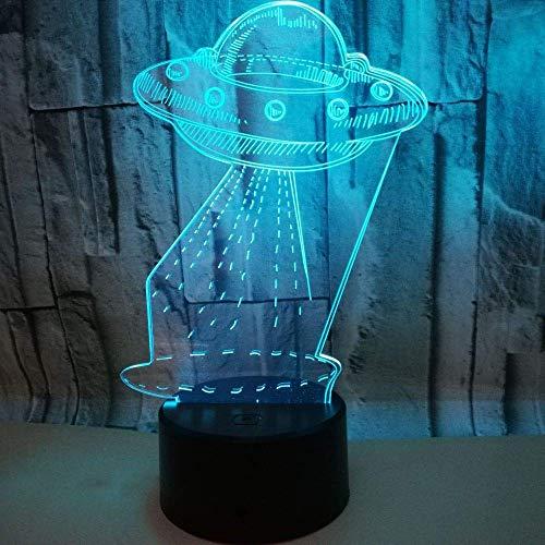 3d lampara de la noche de luz nocturna lámpara para sala de estar plato decoración de dormitorio regalo lámpara de noche creativa regalo Con carga USB, control táctil de cambio de color colorido