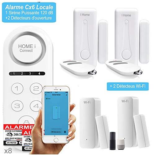 1 Tür- und Fensteralarm WLANI für Warnmeldung am Telefon und 1 Alarm Cx6 lokal kabellos mit 1 leistungsstarken Sirene zum Abschrecken von Eindringlingen – 8 Aufkleber abschreckend