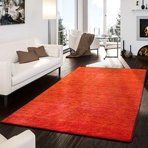 T&T Design Teppich Handgemacht Modern Edel Gabbeh Schlicht Leicht Meliert Terrakotta, Größe:160x230 cm