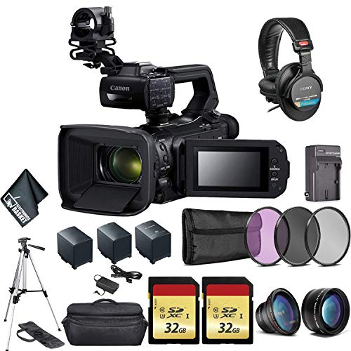 Canon XA55 Professional UHD 4K Camcorder 3668C002 Bundle with 2X Spare Batteries + 2X 32GB Memory Cards + Carrying Case + Sony MDR 7506 Headphones + More