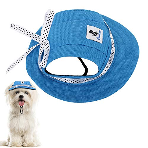 Pawaboo Round Brim Dog Princess Cap, Premium Oxford Fabric Adjustable Visor Hat Pet Outdoor Sun Protection Sunbonnet Dog Hat for Small Dogs Chihuahua, Shih Tzu, Yorkshire Terriers, Large/Blue
