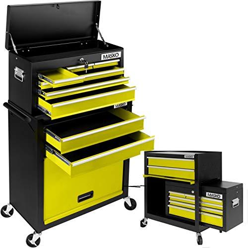 MASKO® Werkstattwagen inkl. Koffer - 9 Fächer Gelb ✓ Abschließbar ✓ Massives Metall | Mobiler...
