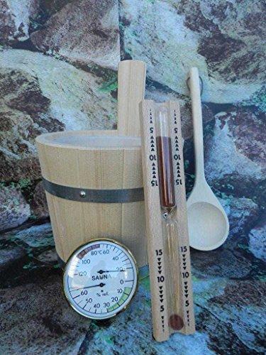 Achleitner Sauna Badset 4-teilig, Saunakübel aus Fichtenholz, Kelle, Sanduhr, Thermo-Hygrometer