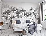 Papel Pintado 3D Bosquejo Blanco Y Negro Estilo Árbol De Coco De La Selva Tropical Fotomurales Pared Dormitorio Papel Pintado Fotográfico Mural