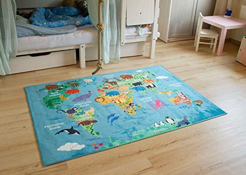 Schadstofffreier Steffensmeier Kinderteppich Weltkarte | Spielteppich für Mädchen und Jungen in blau bunt, Größe: 120x170 cm
