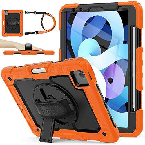 SEYMAC Stock iPad Air 4 Case 2020, Shockproof Full Body Protective Rugged Case with [360 Rotating Stand/Hand Strap] Pencil Holder & Screen Protector for iPad Air 4th Generation 10.9''(Black+Orange)