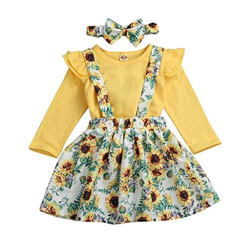 Neugeborenes Baby Mädchen Rosa Outfits Set Kleidung Set Stricken Fliegender Ärmel Romper Overalls Blumenhose Rock Süßer Kopfschmuck (Sonnenblume, 0-6m)