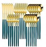 JUIO Juego de 30 cuchillos de comedor de acero inoxidable dorados, tenedor, cuchara de postre y cuchara rosada, juego de vajilla coreana (color: verde y dorado 6 juegos)
