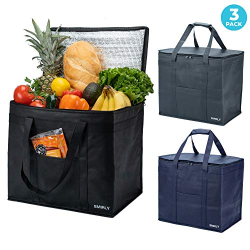 Smirly Insulated Reusable Grocery Bags: 3 Pack of Heavy Duty Thermal Insulated Grocery Bags with Zipper - Large Insulated Grocery Shopping Cooler Tote and Food Delivery Bag to Keep Foods Hot or Cold