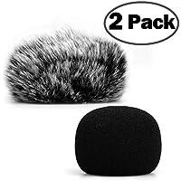ChromLives H1 H1N Micrófono de parabrisas Furry Windkey Muff Cubierta de viento + Cubierta de Espuma Micrófono Cubierta de parabrisas para Zoom H1 H1n Apogee Mic y más, Furry & Foam 2Pack