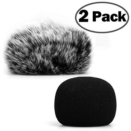 ChromLives H1 H1N Microfono per Parabrezza Peloso Copertura Antivento + Microfono in Schiuma Copertura per Parabrezza per Zoom H1 H1n Apogee Mic e altro, Furry & Foam 2Pack