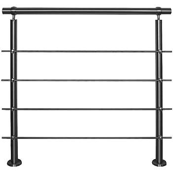 Barandilla de acero inoxidable para montaje en balcón, terraza, escalera con variante de puntales horizontales: con 4 barras de longitud: 2,5 m, incluye 3 postes.: Amazon.es: Bricolaje y herramientas