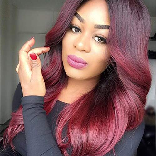 Ombre Burgundy Red Wig For Women 26 Inches Long Loose Wave Lace Wig with Black Roots Heat Synthetic Wig Daily Halloween Cosplay Silky Lace Wig Natural Looking (OT1B/BUG(NYL2330)