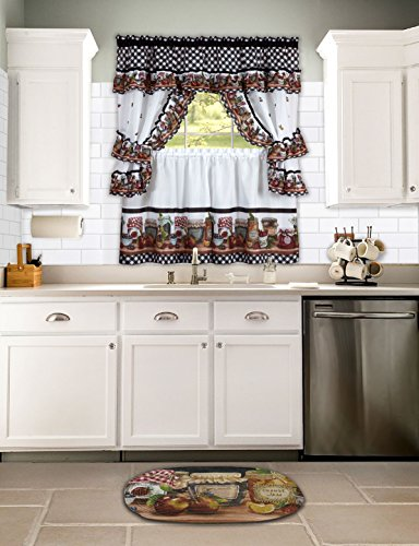 naturally home Mason Jars Kitchen Curtain Cottage Set, Tiers and Ruffled Swag, 36-Inch Long