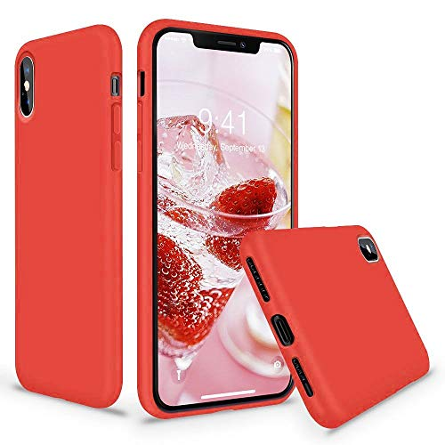 Vooii iPhone Xs Case, iPhone X Case, Soft Liquid Silicone Slim Rubber Full Body Protective iPhone Xs/X Case Cover (with Soft Microfiber Lining) Design for iPhone X iPhone Xs - Red