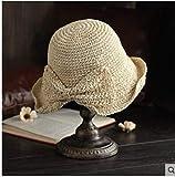 Dama de la Moda 100% Rafia Sombreros para el Sol Mujeres Verano Sombrero de Paja Visera Sombrero para el Sol Panama Boater Floppy Bucket Cap Mujer Mujer Straw Beach tamaño 56-58cm Beige