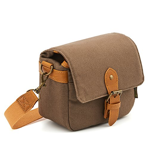 Compact SLR/DSLR Camera Shoulder Bag Evecase Small Canvas Shoulder Pouch Case for 4/3 Micro Four Third/Compact System/Mirrorless/Power Zoom/Instant Instax Film Digital Camera- Brown