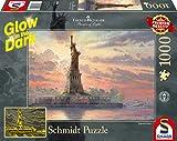Schmidt Spiele- Thomas Kinkade - Puzzle (1000 Piezas), diseño de Estatua de la Libertad en la Noche, Color carbón (59498)