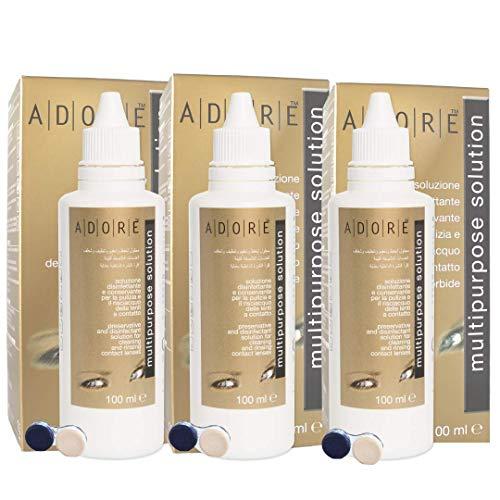 ADORE Solution Multifonction pour Lentilles de Contact souples- paquet de 3x100ml + Ètui pour lentilles de Contact(3 paquets ÉCONOMIES)
