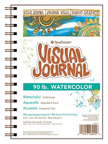 Strathmore 400 Series Visual Watercolor Journal, 90 LB 5.5'x8' Cold Press, Wire Bound, 34 Sheets
