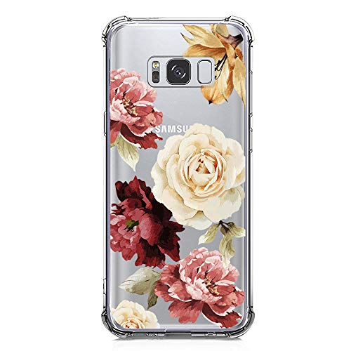 KIOMY Galaxy S8 Case, Crystal Clear Case with Design Rose Flowers Pattern Print Bumper Protective Shockproof Case for Samsung Galaxy S8 Flexible Soft Gel Silicone TPU Floral Cover for Girls Women