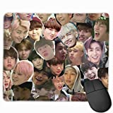 B-T-S Kpop Meme Face Collage Mouse Pad Anti Slip Gaming Mouse Pad with Stitched Edge Computer Pc Mousepad Neoprene Base for Office Home