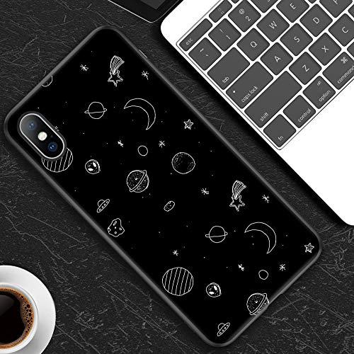 YRTHOR Siliconen Telefoonhoesje voor iPhone 7 8 6 6S Plus X Stars Letter Space Voor iPhone XR XS Max 5 5s SE X Hoesjes Zachte TPU Achterkant Cover-5-Voor iPhone XR
