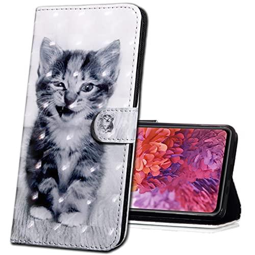 MRSTER LG K40 Handytasche, Leder Schutzhülle Brieftasche Hülle Flip Hülle 3D Muster Cover mit Kartenfach Magnet Tasche Handyhüllen für LG K40 2019. BX 3D - Smiley Cat