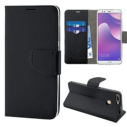 N Newtop Funda compatible para Huawei Y7 2018/Nova Lite Plus, HQ Lateral Funda Libro Flip Cierre Magnético Cartera Simil Cuero Stand (Negro)