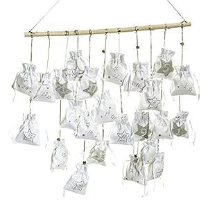 Adventskalender Edel mit 24 Säckchen zum Befüllen Baumwolle/MDF weiß/silber
