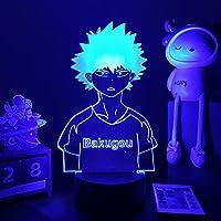 3Dアニメナイトライトマイヒーローアカデミアベッドサイドランプ用寝室の装飾ボーイズ誕生日ギフト漫画ガジェット焼畑カツキフィギュアランプRGB調色 常夜灯 かわいい 雰囲気作り 16色 子供の部屋の装飾ホリデーライト 人気 アニメ -リモコン