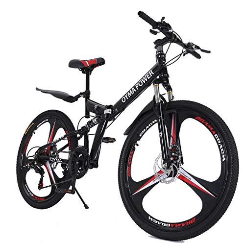 Passwolf 26in Mountain Bike, Folding Bicycle Full Suspension MTB Bikes with 21 Speed Disc Brakes (Black)